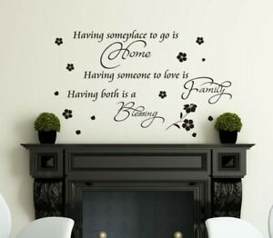 Wall Sticker Art Quotes Home & Family Blessed DIY Vinyl Wall Decal HIGH QUALITY