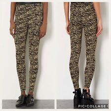 Topshop Metallic Gold Glitter Floral Leggings Size-10 New !!!SOLD OUT INSTANTLY