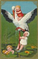 Baby Sitting On Stork Glad Greetings New Baby Postcard