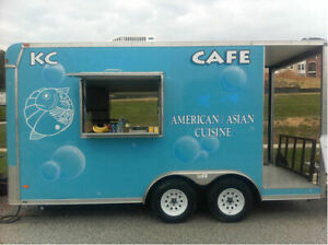 USED 8 X 20 Enclosed Concession Stand Food Vending with Porch Trailer
