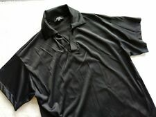 APC A.P.C. France plain black nylon polo pullover shirt small