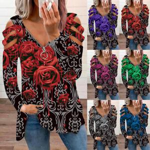 UK Womens Blouse Zipper Holiday Loose Hollow Long Sleeve T Shirt Ladies Tee Tops