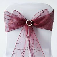 10 Burgundy Embroidered Organza CHAIR SASHES Ties Bows Wedding Decorations
