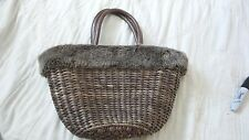 NWOT Bath and Body Works Large Brown Fiber Weave Purse Faux Fur Trim Lined