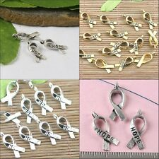HOPE cancer awareness ribbon design charms for bracelet in 3-colors to Pick