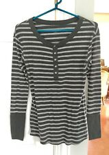 LIZ LANGE Maternity for Target Henley Top~Small~Cotton Blend~Gray On Gray Stripe