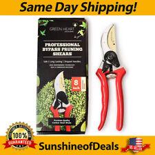 Carbon Steel Bypass Garden Shears - Ultra Sharp Titanium Blades by Green Heart