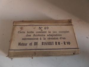 rare jeu complet d'arrêtoirs adaptable pour Renault R 8 ET R 10 neuve d'époque