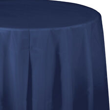 "82"" Navy Blue Wedding Birthday Party Tableware Plastic Round Table Cover"