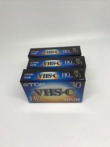 3 New SEALED TDK TC30 Blank VHS-C CAMCORDER Video Cassette Tape HG Ultimate