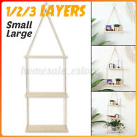 Wooden Hanging Plant Flower Pot Shelf  Wall Storage Rack Rope Home Indoor Decor