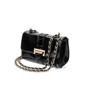 £495 Aspinal Of London Mini Lottie Bag, Black Patent Leather Crossbody Bag, NEW
