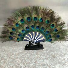 Peacock Feather Hand Fans Double Side Vintage Favor Retro Gift Green Decor Chic