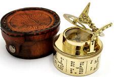 Laiton cadran solaire boussole-Pocket Box cadran solaire-durm cadran solaire avec étui en cuir