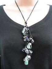 Etnika Purple & Green Bead Silver Diamante Ball Cord Necklace BNWT