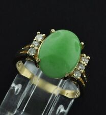 Pre owned 18k Solid Yellow gold Ladies Natural A Oval Jade Jadeite ring 0.18 ct