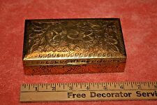 Vintage India JP Brass Flower Design & Cider inside Trinket Box or Cigar Box