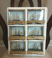 Vintage Bombay & Company Lot of 6 Rare Ship Ships in a Bamboo & Glass Case Box