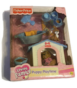 Fisher Price Loving Family Puppy Playtime Playset Dog House & Dogs  NEW