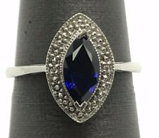 Sterling Silver Solitaire Marquise Blue Tanzanite Elegant Cocktail Band Ring 7