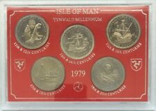 1979 ~ ISLE OF MAN ~ TYNWALD MILLENNIUM ~ SET OF 5 ~ ONE CROWN COINS