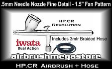 Iwata Revolution Airbrush HP.CR .5mm Inc: 3mtr Braided Hose + Free Insured Post