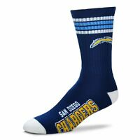 San Diego Chargers Retro For Bare Feet NFL 4-Stripe Deuce Crew Socks SZ M