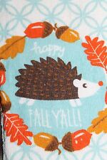 FUN PRINTED COTTON KITCHEN DISH TOWEL Happy Fall Ya'll ! Cute Possum Acorns
