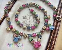 VINTAGE Sweet Tutti Frutti Harlequin Pastel Crystal Rhinestone RIVIERE NECKLACE