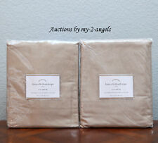 S/2 NEW Pottery Barn LINEN SILK BLEND CURTAINS Drapes Panels 50x84 TAUPE NEUTRAL