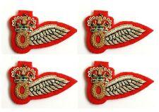 4 x RAF Half Wing Observer Brevet  Bullion Wire Badges On Red Felt (nsn215)