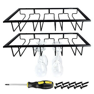 Metal Glass Holder Glasses Hanger Orgernizer Under Cabinet for Home or Bar