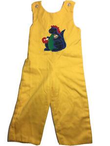 Kelly's Kids 4T Yellow Dinosaur Romper Applique Long All Overalls Boys Dino