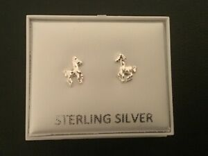 New Genuine 925 Sterling Silver Pair of Small Horse Stud Earrings, So Cute! Uk