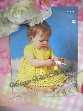 Vintage Crochet Pattern Baby Girls Pretty Summer Dress. 3 Sizes, 16-20in. Chest