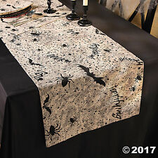 "HALLOWEEN Haunted House Party SPOOKY SOIREE Cloth TABLE RUNNER 90"" x 17"""