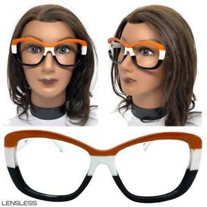 Womens Classy Elegant Modern Retro Funky Lensless Eye Glasses Frame Only NO Lens