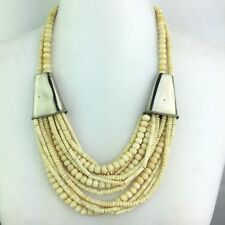 Vtg Multi Strand Animal Bone Bead Bib Statement Necklace Silver Tone Accent 24""