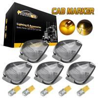 Set/5 Smoke Roof Cab Marker Light Lens+Amber Free 3528 LEDs for 99-16 Ford F-250