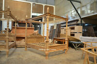 """First time in UK! 4'6""""  DOUBLE TEAK Wood french Queen Anne style Four poster bed"""