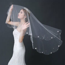 2T White Bride Wedding Bridal With Veils Satin Edge Elbow Wedding Accessories