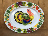 "Enamel Enamelware Turkey Platter Made in Hong Kong Vintage Colorful 18"" x 14"""
