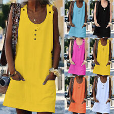 Womens Beach Holiday Tops Party Buttons Tunic Ladies Casual Cami Neon Mini Dress