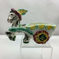 Vintage Donkey Pulling Cart Planter - Colorful Flower Wheels- Made in Japan