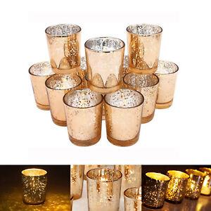 12Pcs Mercury Glass Tea Light Candle Holders Votive Home Wedding Decor Golden