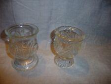 Vtg (1) Avon Glass Tulip Cup Votive Candle Holders Diamond Quilt (1) Wheat Patt
