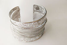Beauty Simple Silver Plated Carving Fine Wire Metal Bangle Cuff