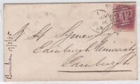 GB10012) GB 1d Red Plate 85 on cover 1865, London to Edinburgh