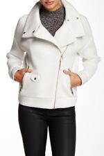 Mackage Nadja Bomber Jacket Lamb Leather Trim Mesh Sleeve Motorsycle Coat * M-L