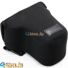 Black Neoprene Soft Camera Case Bag Pouch For Canon EOS M M2 EF-M 18-55mm Lens
